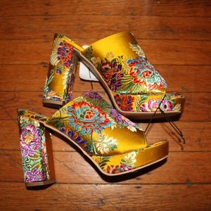 Shoes - Satin Floral Embroidered Slipper Style Mule Heels